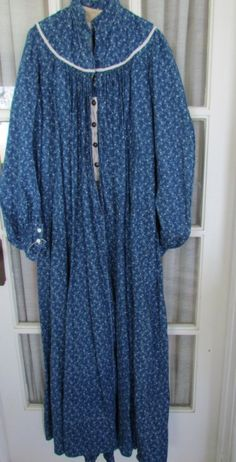 Most Unusual Blue Calico Full Length Adult Dress