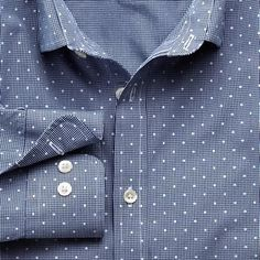 Charles Tyrwhitt Blue Gingham Polka Dot Slim Fit Shirt | Where to ...