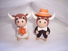 Texas Longhorn Wedding Cake Toppers by The Pink Koala Wedding Design Studio.