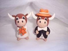 Texas Longhorns Wedding Cake Topper by thepinkkoala on Etsy