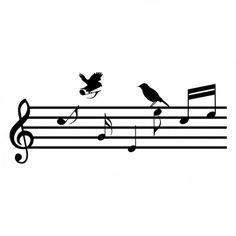 Muzieklijn met muzieknoten en vogels Music Staff Tattoo, Music Tattoos, Music Illustration, Music Crafts, Music Pics, Notes Design, Chor, Simple Art, Cool Art
