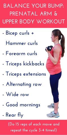 Arm and upper body workout for pregnancy + this blog post talks about the benefits of training and strengthening those muscles!