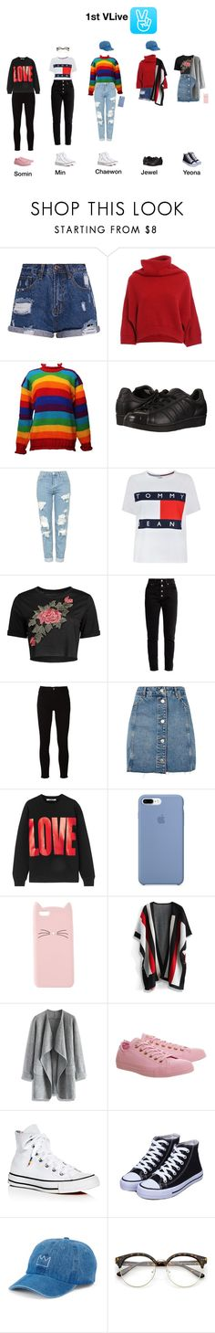 """1st VLive"" by nsgirls ❤ liked on Polyvore featuring Brunello Cucinelli, adidas Originals, Topshop, Tommy Hilfiger, Balenciaga, Frame, Givenchy, Charlotte Russe, Chicwish and Converse"