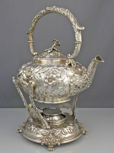Kirk Repousse Silver kettle on stand