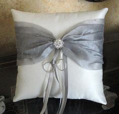 Wedding Ring Bearer Pillow Ivory Platinum or Custom Made in your colors with Swarovski Crystals