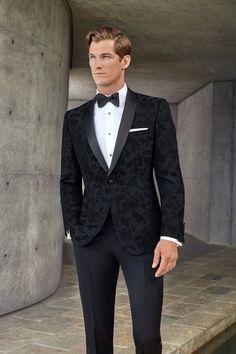 Couture 1901 Black Floral Tuxedo Jacket (Separates) - Men's style, accessories, mens fashion trends 2020 Mens Fashion Suits, Mens Suits, Grey Suits, Mens Tux, Groomsmen Suits, Groom Attire, Floral Suit Men, All Black Suit, All Black Dress Outfit Men