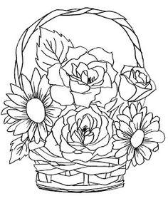 Vaso de flor para pintar. Desenhos para colorir. Risco de flor. Flor para colorir - Colorir Desenhos e Divertido