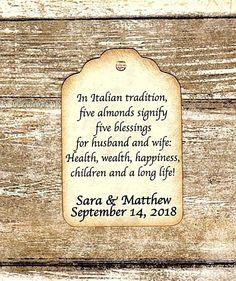 50 Custom Jordan Almond Tags Five Wishes Poem Italian
