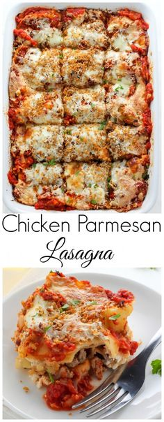 Lightened Up Chicken Parmesan Lasagna - layers of gooey cheese chicken sauce and noodles! THIS IS AMAZING! Lightened Up Chicken Parmesan Lasagna - layers of gooey cheese chicken sauce and noodles! THIS IS AMAZING! Pasta Recipes, Dinner Recipes, Cooking Recipes, Healthy Recipes, Lasagne Recipes, Sauce Recipes, Italian Dishes, Italian Recipes, Pasta Dishes