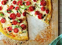 Polenta pizza via Organic Authority -- http://www.organicauthority.com/main-courses/polenta-pizza-recipe-with-tomatoes-and-fresh-herbs-gluten-free-vegetarian.html