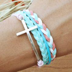 Bracelet- turquoise cross bracelet for friends, gift for girlfriend, unique gift. $7.99, via Etsy.