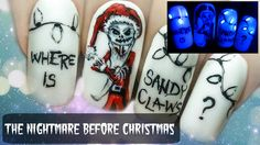 The Nightmare Before Christmas ⎮ Glow in the Dark Freehand Nail Art Tuto...