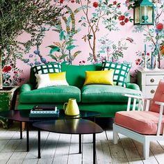 """Inside the April Issue - """"Inspired by the great outdoors, Gabby Deeming dreams up some pretty schemes for spring, with bright blooms and abundant foliage set against a fresh and cheerful colour palette."""""""