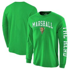 Marshall Thundering Herd Fanatics Branded Distressed Arch Over Logo Long Sleeve Hit T-Shirt - Kelly Green - $19.99