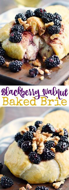 This Blackberry Walnut Baked Brie is filled with preserves and walnuts then wrapped in golden puff pastry to keep in all the melted goodness! COPYRIGHT © 2017 COOKING WITH CURLS