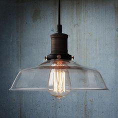 Vintage Industrial Pendant Light - Glass Diameter 25cm