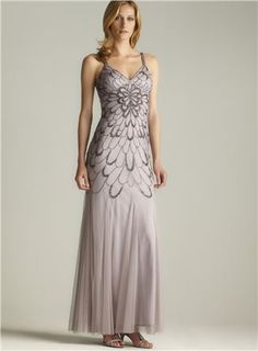 Low Tie Back Beaded Gown