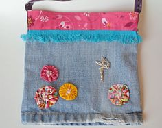 Chic Crossbody bag - small shoulder bag - recycled jeans bag