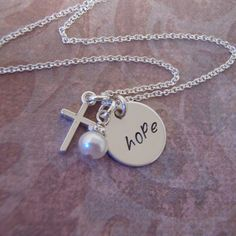 Hope necklace -  Silver cross necklace and genuine birthstone gemstone - Sterling silver necklace. $30.00, via Etsy.