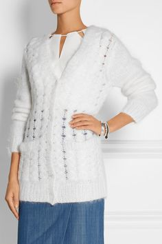White cable-knit mohair-blend Button fastenings through front mohair, polyamide, wool Dry clean Cable Knit Cardigan, Wrap Sweater, Cashmere Cardigan, Michael Kors Sandals, Pamela Love, Michael Kors Collection, Tunic Tops, Sweaters, Wraps