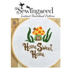 INSTANT DOWNLOAD Home Sweet Home Cross Stitch por Sewingseed