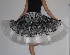 LOVE a crochet skirt over TULLE