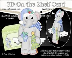 7 Sheets in the kit    On the shelf base card    On the Shelf Character top piece    On the Shelf Character bottom piece    3D decoupage    Matching 2 piece envelope    2 Coordinating backing papers    Holiday Greetings sentiment Panels    Blank sentiment layer for your own greeting    Larger writing panel for the reverse of the card          A Gorgeous Keepsake Christmas 3D On the Shelf Card with that added WOW factor! A card that will really sit on the shelf making a super cute and…