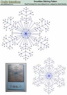 Snowflake Stitching Pattern on Craftsuprint designed by Sarah Edwards - Stitching pattern of a snowflake. Comes in two sizes to suit your craft projects. Photo shows example card. - Now available for download!