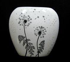 Handpainted porcelain vase – black & white zentangle dandelions ...