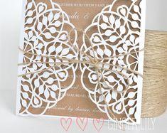 Rustic Laser Cut Wedding Invitations - Handmade - 50 Invites - White Print