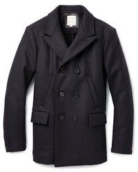 Black Pea Coat: Wool Peak Lapel Pea Coat by Billy Reid