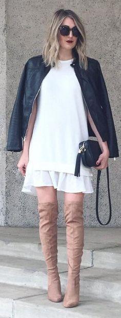 #winter #fashion /  Black Leather Jacket / White Knit / White Tulle Skirt / Camel OTK Boots