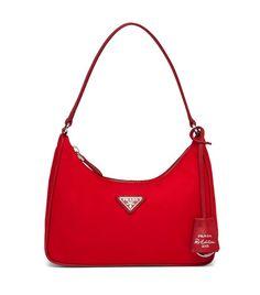 PRADA Re-Edition 2005 Nylon and Saffiano Leather Mini- Bag. Prada logo nylon lining. Red Prada Bag, Prada Tote Bag, Luxury Purses, Luxury Bags, Handbags Online, Prada Handbags, Nylons, Best Designer Bags, Red Handbag