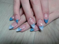 Katya - Nails neon-blue french nägel