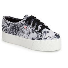 Superga 'Acot Linea' Sneaker ($35) ❤ liked on Polyvore featuring shoes, sneakers, chunky platform shoes, superga, platform shoes, rubber sole shoes and platform sneakers