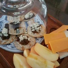 Appetizer --apples white and yellow cheddar along with water crisp crackers -fig spread and blue cheese