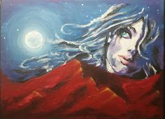 Acryllic painting. Painted this one over twice before the subject actually came to me. Not one of my favorite works.