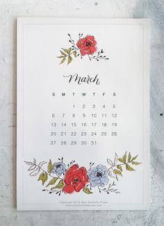 Pretty floral March 2016 calendar design with hand lettering. Free printable download on the website - AMY ROCHELLE PRESS amyrochellepress.com 2016 Calendar, Calendar Design, Custom Invitations, Creative Inspiration, Letterpress, Event Design, Hand Lettering, Free Printables, Amy