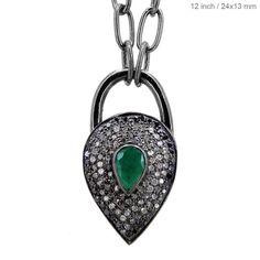 Emerald Gemstone Pear Shape Padlock Pendant 925 Sterling Silver Diamond Necklace #Handmade #Pendant