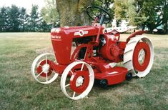 """1960 """"Steel Horse"""" 400 Suburban with the powdercoated nearing completion Wheel Horse Tractor, Tractor Plow, Tractor Mower, Tractor Parts, Yard Tractors, Small Tractors, Mustang Wheels, Car Wheels, Antique Tractors"""