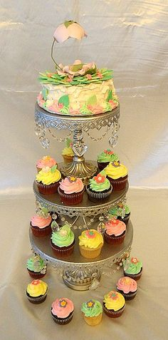 Garden Baby Shower Cake and Cupcakes by BABYCAKES CUPCAKES MIAMI, via Flickr