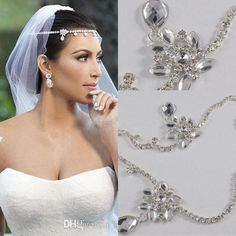 2014 Kim Kardashia Real Images Rhinestone Beautiful Shining Crystal Wedding Bridal Wedding Hair Piece Accessory Jewelry Tiaras from One-stopos,$9.95 | DHgate.com