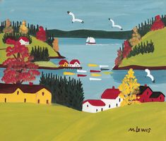 The brightly colored, joyous paintings of Canadian Folk artist Maud Lewis earned her fame in her native Nova Scotia. Abstract Landscape Painting, Landscape Paintings, Maudie Lewis, Contemporary Abstract Art, Illustration, Naive Art, Canadian Artists, Outsider Art, Hanging Art