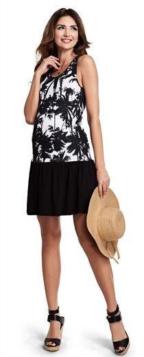 Havana хлопковое двухцветное платье в тропический принт для беременных