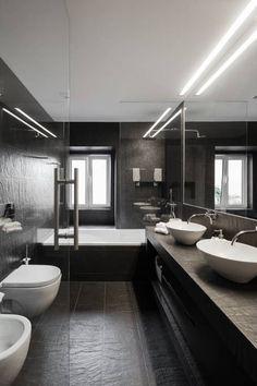 Dunkeles, minimalistisches Badezimmer von Vanessa Santos Silva | Arquiteta. #badezimmer #homify