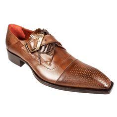 Designer Men's Shoes at Dellamoda.com - Jo Ghost Shoes 1-Buckle Strap Brown Leather Loafer 434M