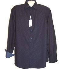 Bugatchi Uomo Men's Blue White Floral Cotton Blouse Shirt Sz 16.5 34/35 NEW