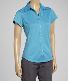 Look at this #zulilyfind! Ocean Blue Cap-Sleeve Vented Hiking Shirt - Women by Guide's Choice #zulilyfinds