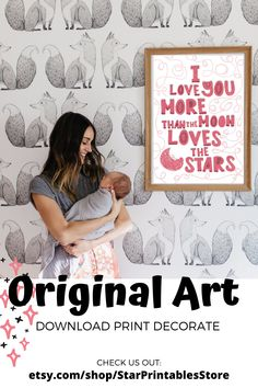 .♥. Modern Typography Love You More Quote for Wall Decor, Printable easy download for Nursery Decor. Ideal for baby girl Nursery and above crib Decor. DIY printable poster perfect for your nursery Featuring minimal Quote Love you MOre Than the Moon Loves The Stars typography, this nursery wall art is perfect for your baby girl's nursery! Download immediately after purchase to print and frame your new wall art :)