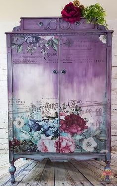 beautiful furniture transfer makeovers its time for some purple lovin check out this gorgeous piece by jon lise of the farm gypsy featured by salvaged inspirations 2 - The world's most private search engine Floral Furniture, Decoupage Furniture, Hand Painted Furniture, Funky Furniture, Refurbished Furniture, Repurposed Furniture, Shabby Chic Furniture, Rustic Furniture, Furniture Makeover
